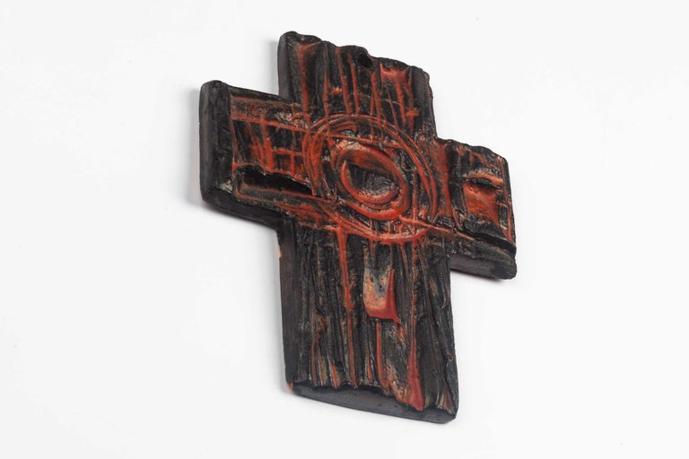 Mid-Century Modern Midcentury European Wall Cross, Hand Painted Textured Ceramic, 1970s For Sale
