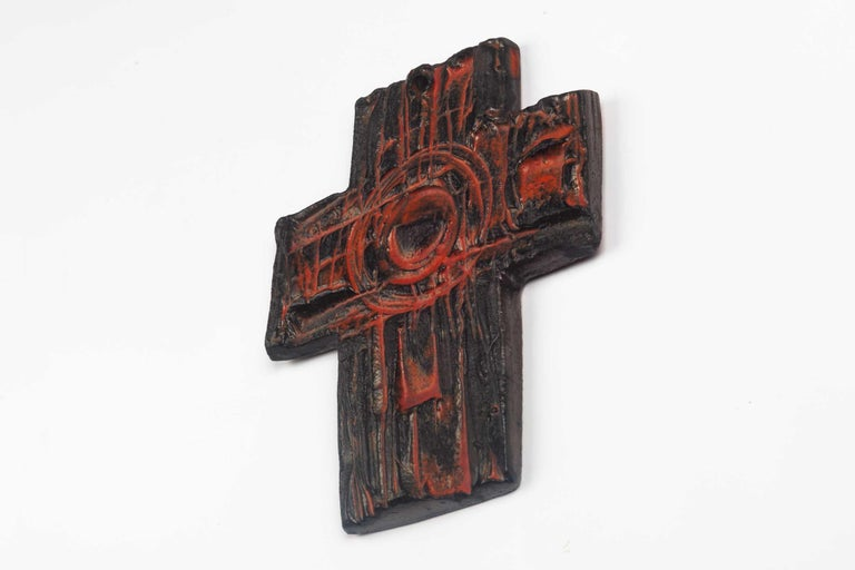 Belgian Midcentury European Wall Cross, Hand Painted Textured Ceramic, 1970s For Sale