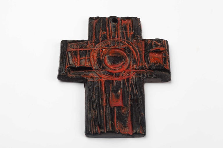 Midcentury European Wall Cross, Hand Painted Textured Ceramic, 1970s In Good Condition For Sale In Chicago, IL
