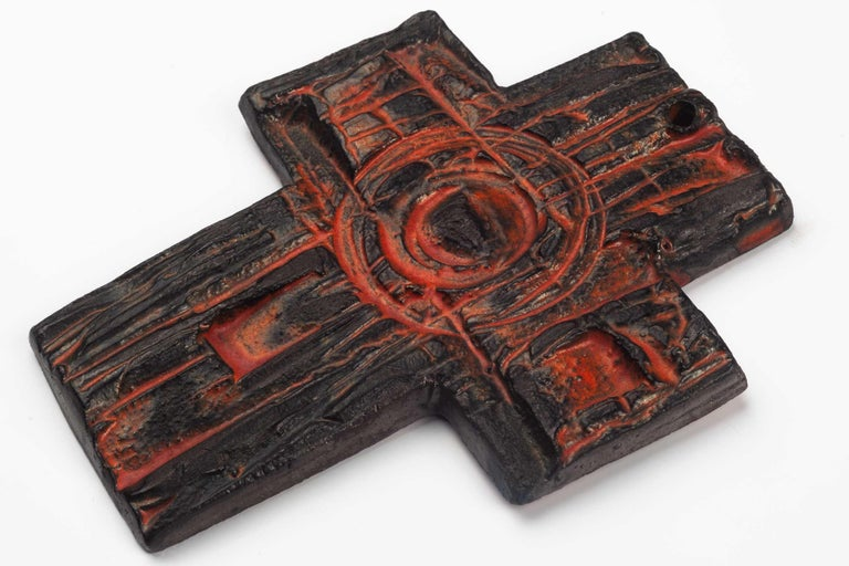 Late 20th Century Midcentury European Wall Cross, Hand Painted Textured Ceramic, 1970s For Sale