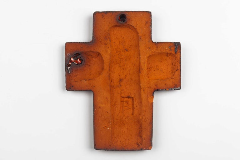 Clay Midcentury European Wall Cross, Hand Painted Textured Ceramic, 1970s For Sale