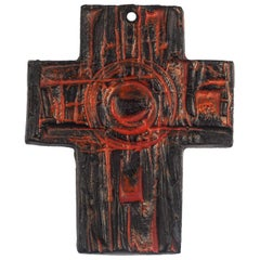 Midcentury European Wall Cross, Hand Painted Textured Ceramic, 1970s