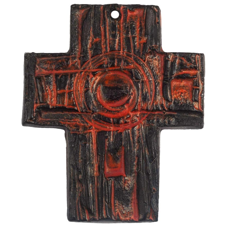 Midcentury European Wall Cross, Hand Painted Textured Ceramic, 1970s For Sale
