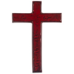 Midcentury European Wall Cross, Red, Black Texture, Hand Painted Ceramic, 1970s