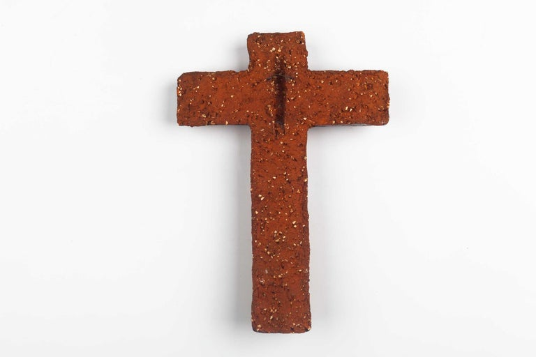 Midcentury European Wall, Cross, Red Glaze and Natural Clay, 1980s For Sale 7