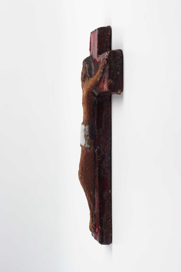 Midcentury European Wall, Cross, Red Glaze and Natural Clay, 1980s For Sale 3