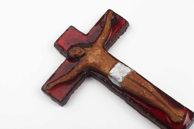 Midcentury European Wall, Cross, Red Glaze and Natural Clay, 1980s For Sale 5