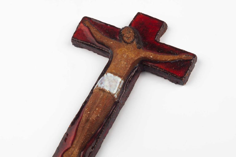Midcentury European Wall, Cross, Red Glaze and Natural Clay, 1980s For Sale 6
