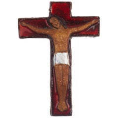 Midcentury European Wall, Cross, Red Glaze and Natural Clay, 1980s
