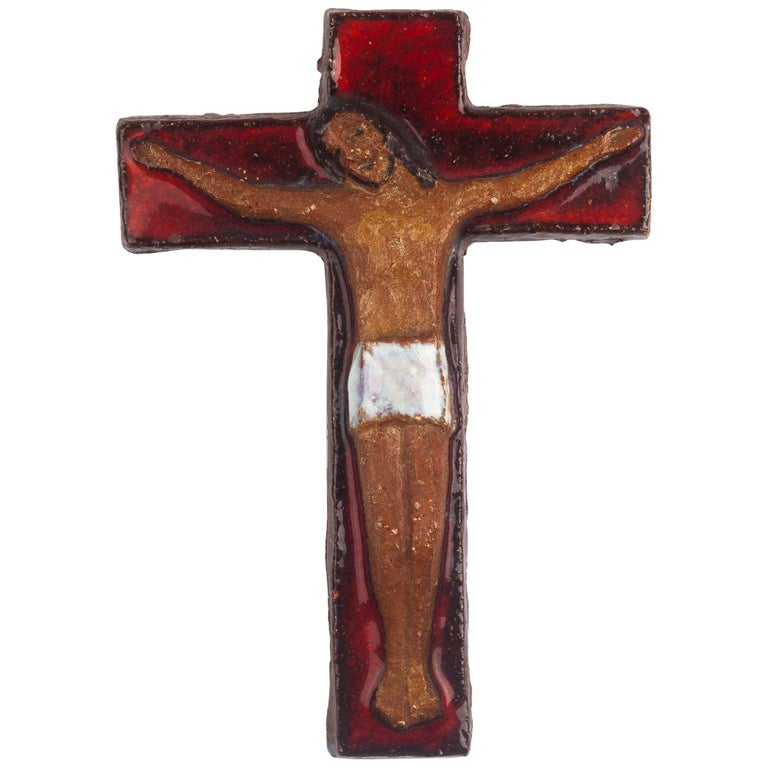 Midcentury European Wall, Cross, Red Glaze and Natural Clay, 1980s For Sale