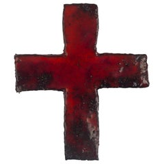 Midcentury European Wall Cross, Textured Ceramic, Red, Black, 1970s