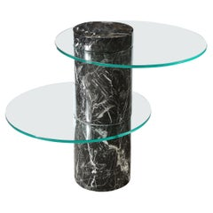 Mid Century Exotic Marble & Glass Two Tier Side Table by Pace Furniture Company