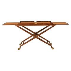 Midcentury Expandable Walnut and Cork Top Bar Cart by Cesare Lacca