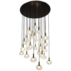 Mid-Century Extra Large Italian Brass and Bubble Glass Chandelier, 1960s