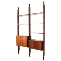 Midcentury F. Albini Wood Adjustable Bookcase, Italy, 1960s