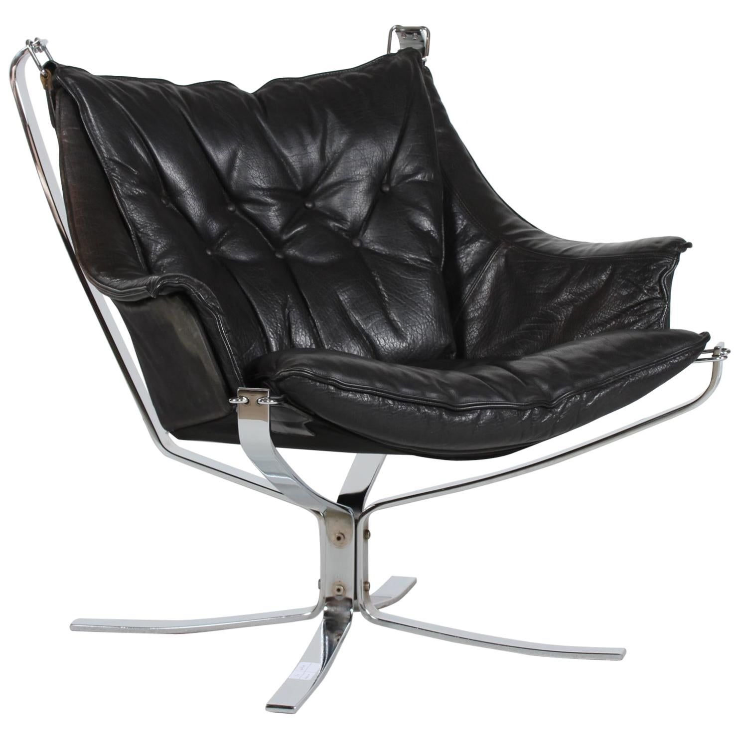 Midcentury Falcon Armchair by Sigurd Ressell with Black Leather and Chrome Base
