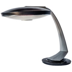 Midcentury Fase Boomerang 2000 Black and Grey Enamel Desk Lamp, 1960s