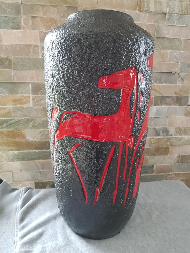 Mid-Century Modern Midcentury Fat Lava Vase from Scheurich, Germany, 1960 For Sale