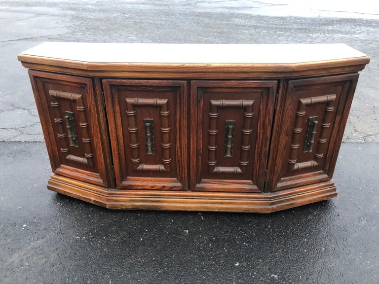 Mid-Century Modern Mid Century Faux Bamboo Credenza For Sale