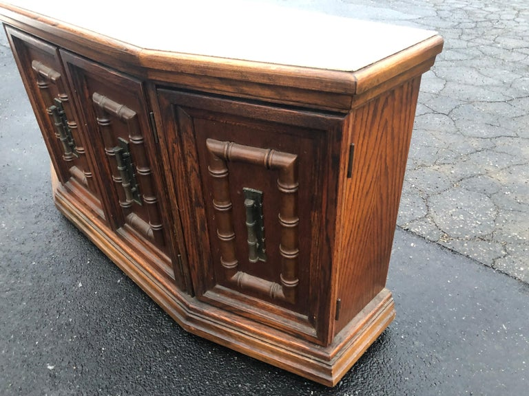 Late 20th Century Mid Century Faux Bamboo Credenza For Sale