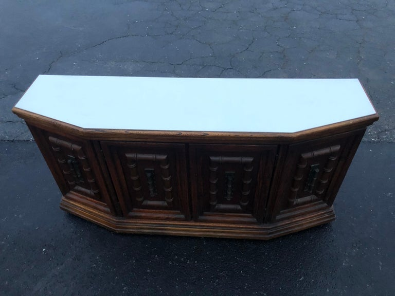 Mid Century Faux Bamboo Credenza For Sale 1