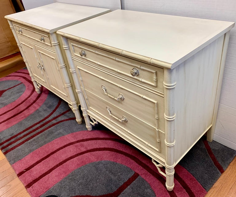 """Vintage faux bamboo nightstands, cabinets an off white finish. Both have separate bookcase or top cabinet with shelves that rest on bottom piece. Measures: Height with top piece is 80"""" H."""