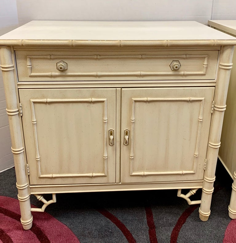 Midcentury Faux Bamboo Nightstands Cabinets with Bookshelves, 4 Pieces In Good Condition For Sale In West Hartford, CT