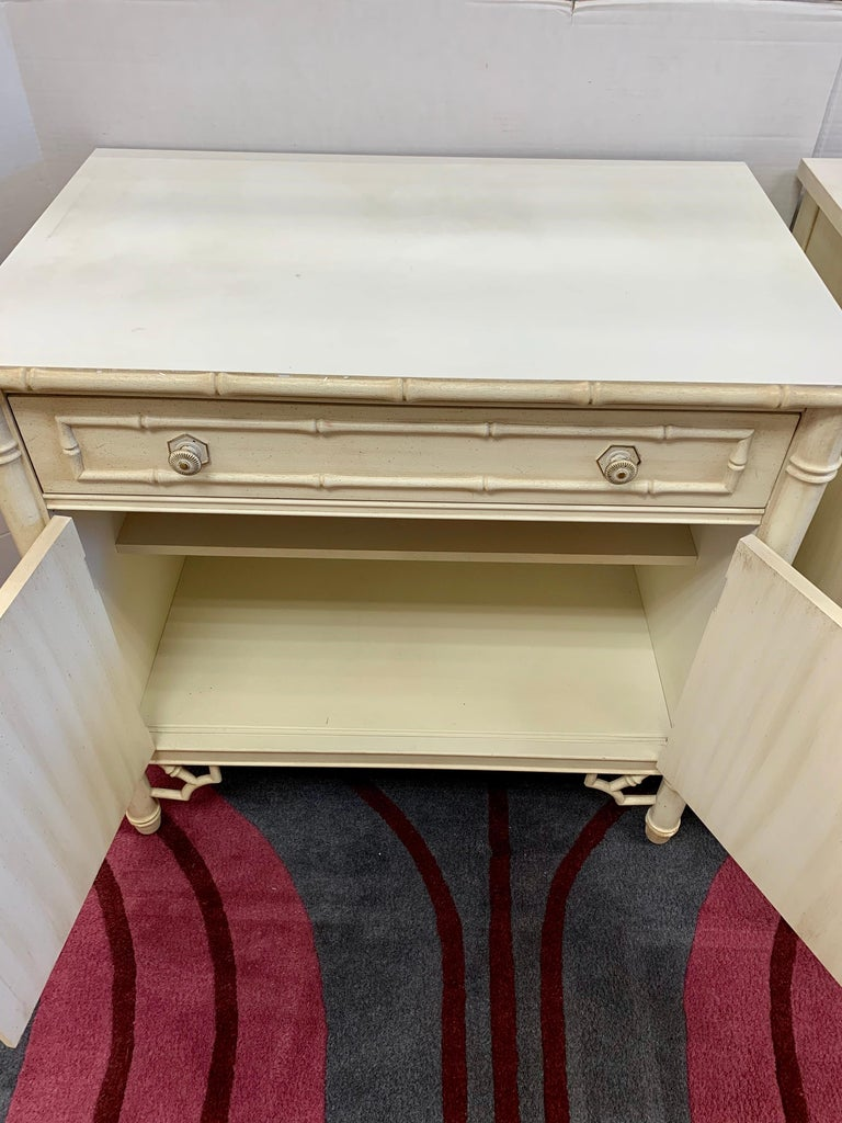 Late 20th Century Midcentury Faux Bamboo Nightstands Cabinets with Bookshelves, 4 Pieces For Sale