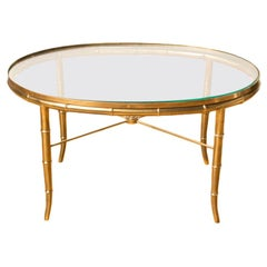 Mid-Century Faux Bamboo Oval Brass Table with Glass Top, C 1950