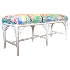 """Midcentury Faux Bamboo """"Palm Beach"""" Bench"""