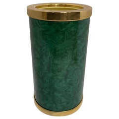 Midcentury Faux Malachite Wine Champagne Bucket Chiller, France