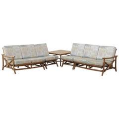 Mid Century Ficks Reed 5 Piece Rattan Tiki Set Bamboo Sofa Table Pair Chairs