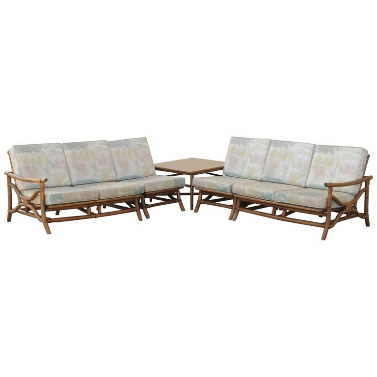 Mid Century Ficks Reed 5 Piece Rattan Tiki Set Bamboo Sofa Table Pair Chairs For