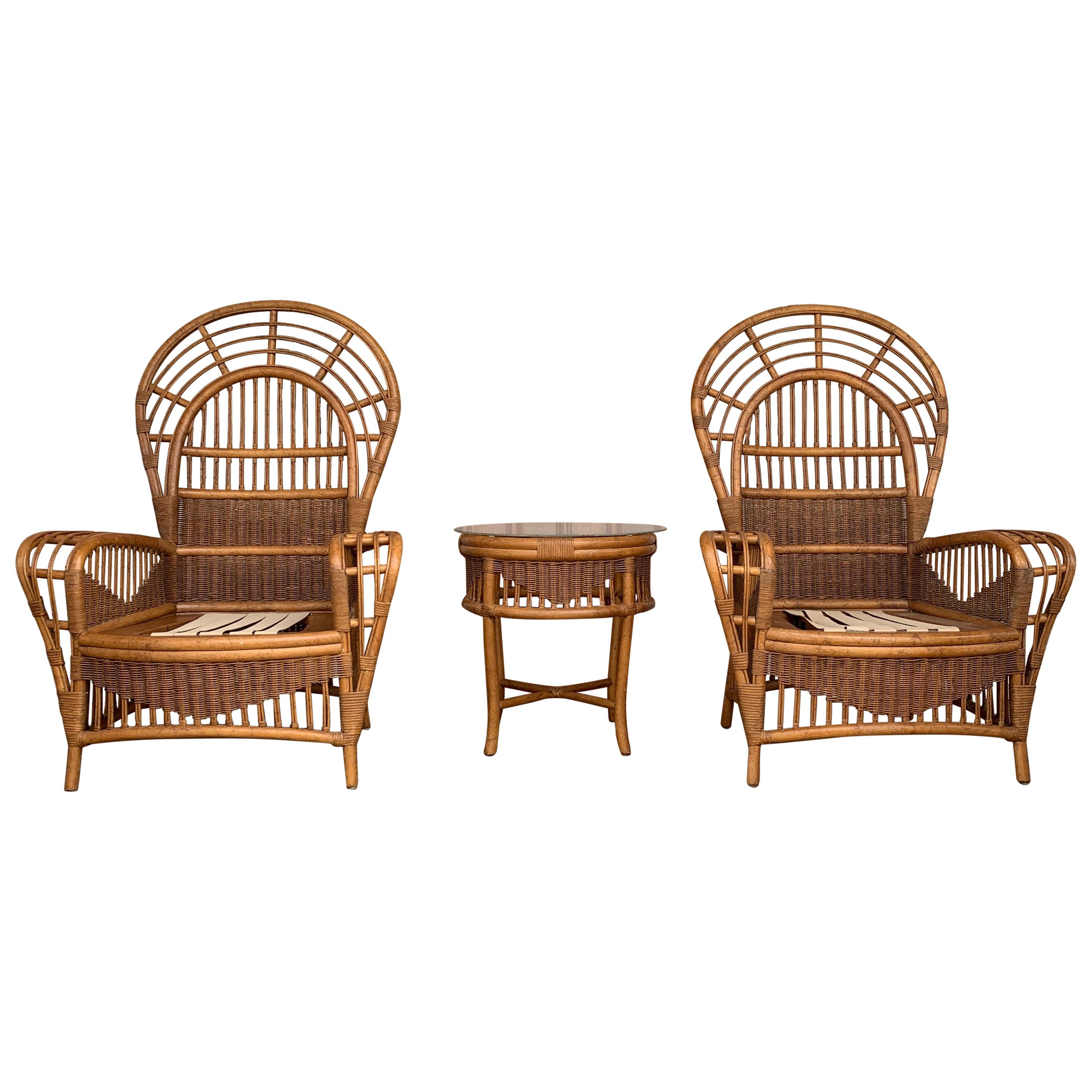Midcentury Ficks Reed Rattan Chairs and Table