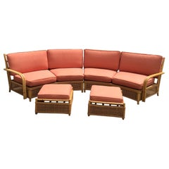 Midcentury Ficks Reed Two-Piece Sectional Rattan Sofa