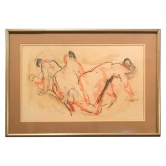 Midcentury Figural Conte de Crayon Drawing by Moses Soyer, 1961
