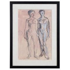 Midcentury Figural Nude Watercolor by Concetta Scaravagilone
