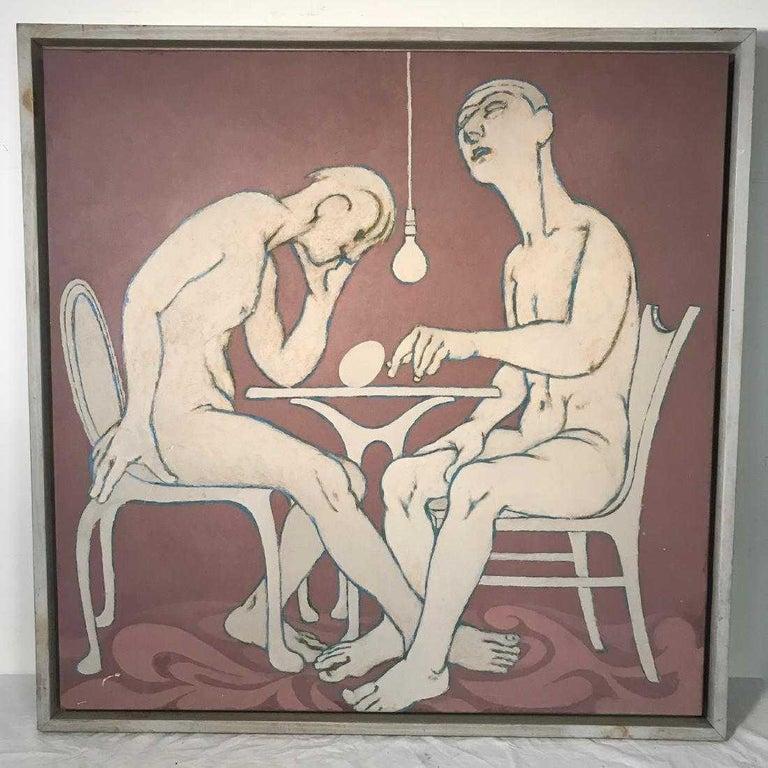 Midcentury figural oil painting