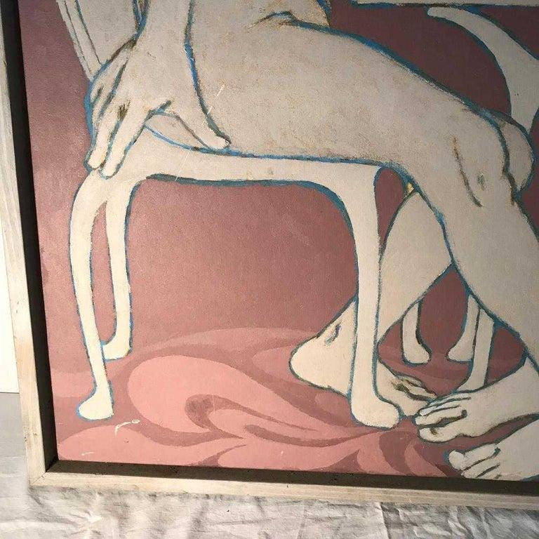 Mid-Century Modern Midcentury Figural Oil Painting