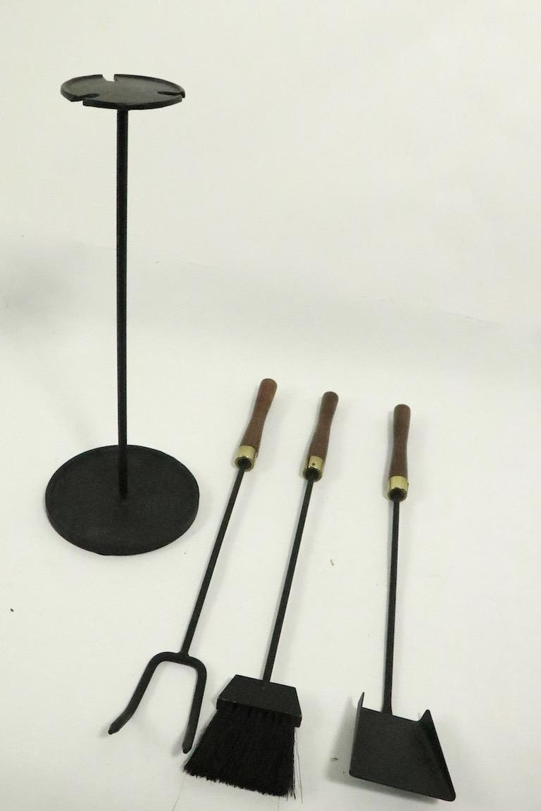 Wrought Iron Mid Century  Fireplace Tools Set by Seymour For Sale