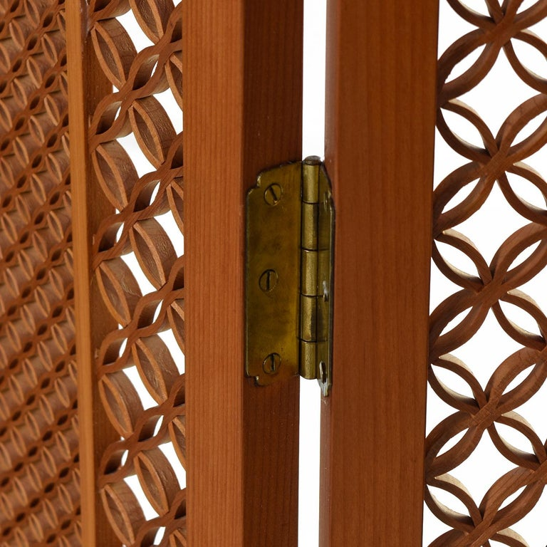 Mid-Century Modern Mid-Century Five Panel Teak Folding Screen Room Divider For Sale