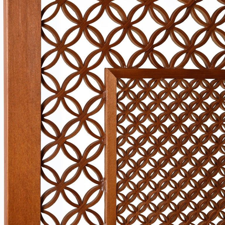 American Mid-Century Five Panel Teak Folding Screen Room Divider For Sale