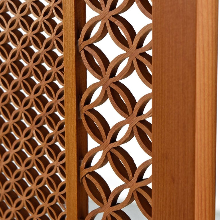 Mid-20th Century Midcentury Five-Panel Teak Folding Screen Room Divider For Sale