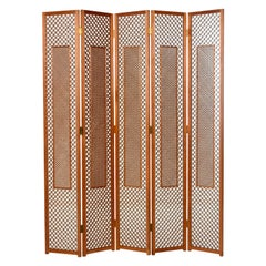 Midcentury Five-Panel Teak Folding Screen Room Divider