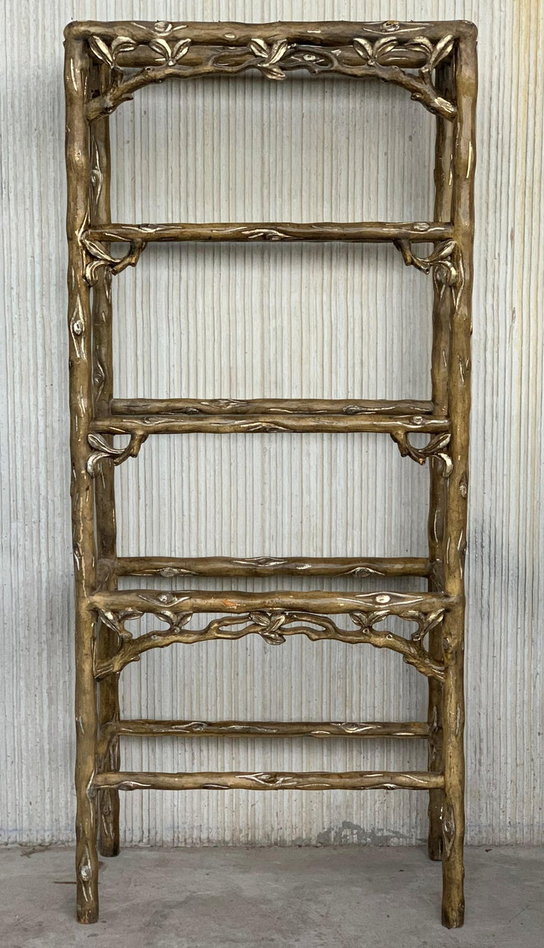 Spanish Colonial Midcentury Five Shelves Painted Étagère in Solid Wood Featuring a Three For Sale