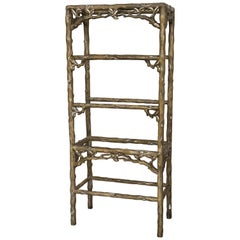 Midcentury Five Shelves Painted Étagère in Solid Wood Featuring a Three