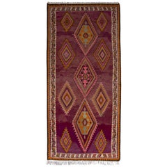 Midcentury Flat-Weave, Geometric Beige, Pink, and Orange Persian Kilim Rug