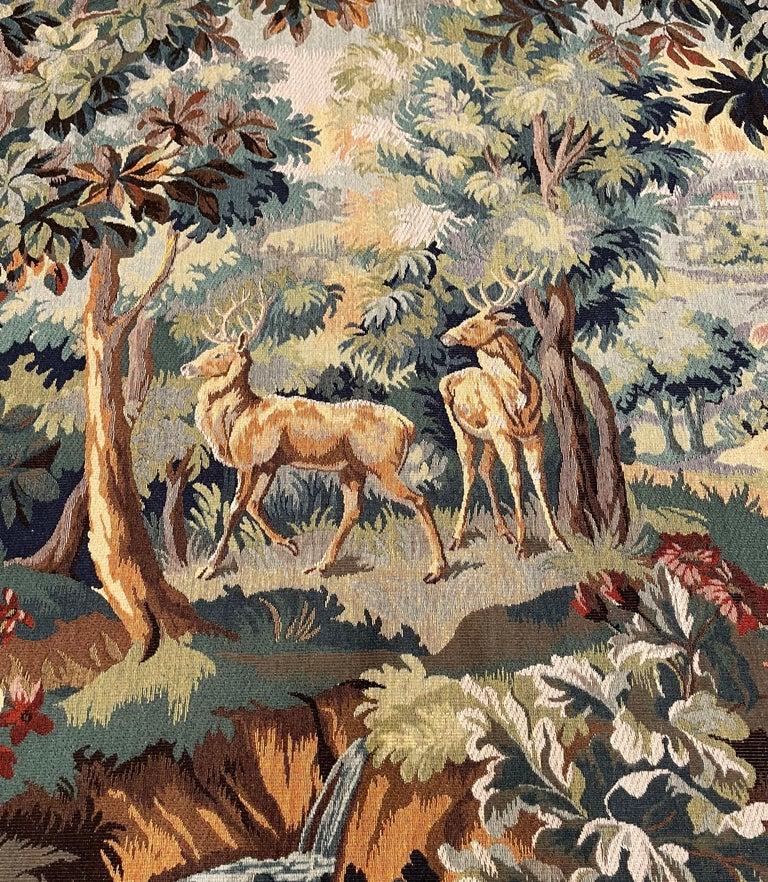Belgian Mid-Century Flemish Woven Deer Tapestry Titled