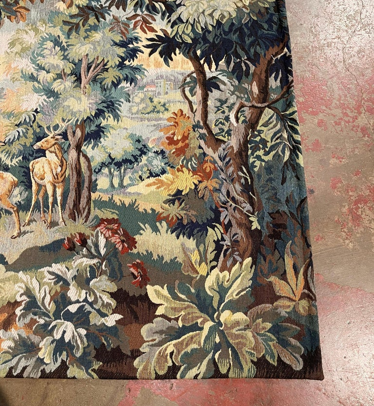 20th Century Mid-Century Flemish Woven Deer Tapestry Titled