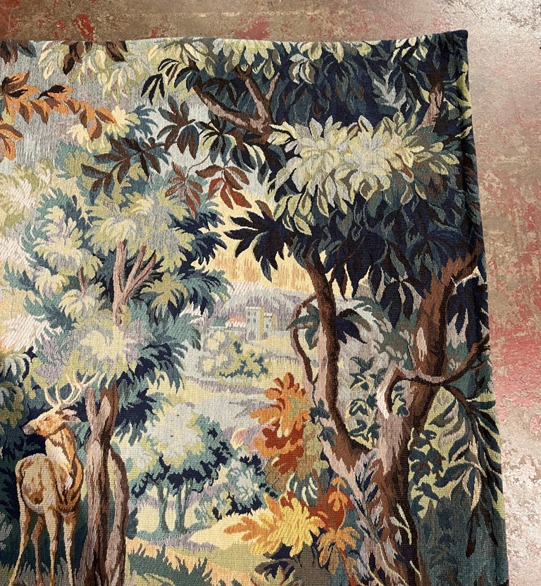 Mid-Century Flemish Woven Deer Tapestry Titled